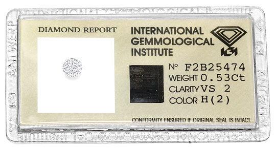Foto 1, 0,53 Carat Brilliant VS2 Wesselton Weiss IGI Zertifikat, D6500
