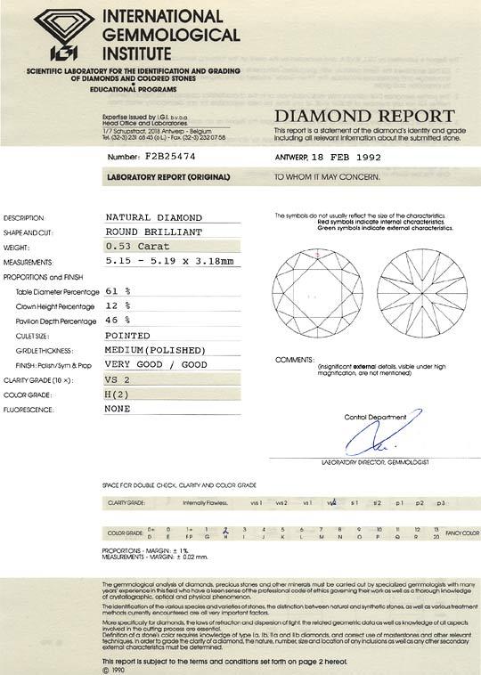 Foto 9, 0,53 Carat Brilliant VS2 Wesselton Weiss IGI Zertifikat, D6500