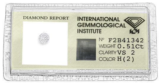 Foto 1, 0,51 Carat Brilliant Wesselton Weiss VS2 IGI Zertifikat, D6502