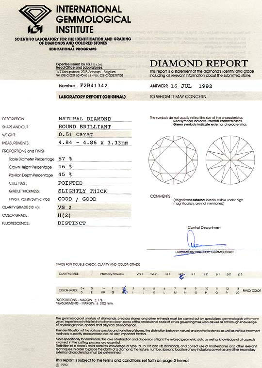 Foto 9, 0,51 Carat Brilliant Wesselton Weiss VS2 IGI Zertifikat, D6502