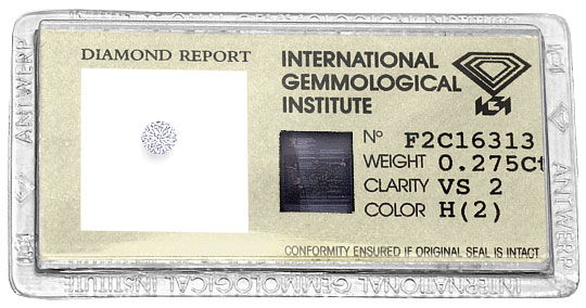 Foto 1, 0,275 ct Brilliant Wesselton H Weiss VS2 IGI Zertifikat, D6507