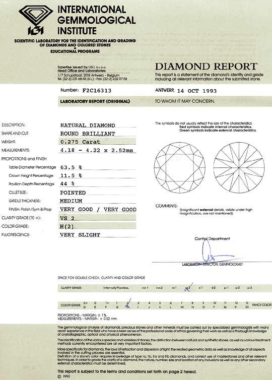 Foto 9, 0,275 ct Brilliant Wesselton H Weiss VS2 IGI Zertifikat, D6507