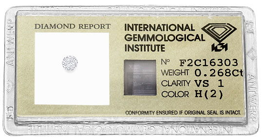 Foto 1, 0,268 ct Brilliant Wesselton Weiss H VS1 IGI Zertifikat, D6508