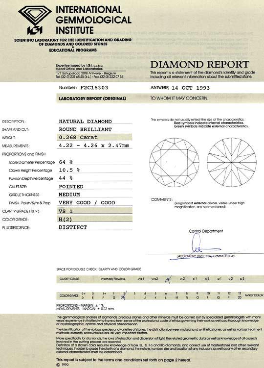 Foto 9, 0,268 ct Brilliant Wesselton Weiss H VS1 IGI Zertifikat, D6508