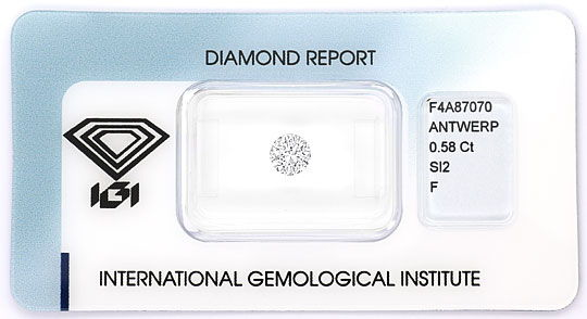 Foto 1, Brilliant 0,58 ct Top Wesselton F SI mit IGI Gutachtgen, D6518