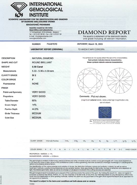 Foto 9, Brilliant 0,58 ct Top Wesselton F SI mit IGI Gutachtgen, D6518