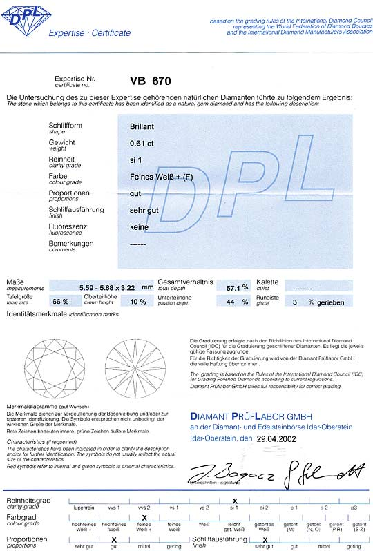Foto 9, Brillant 0,61ct Top Wesselton feines Weiss Plus SI1 DPL, D6522