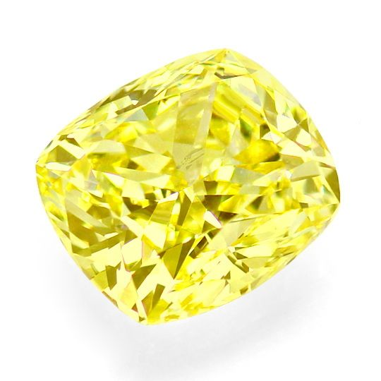 Foto 2, Riesiger Fancy Yellow Diamant 2,187 ct HRD, SI2 Cushion, D6526