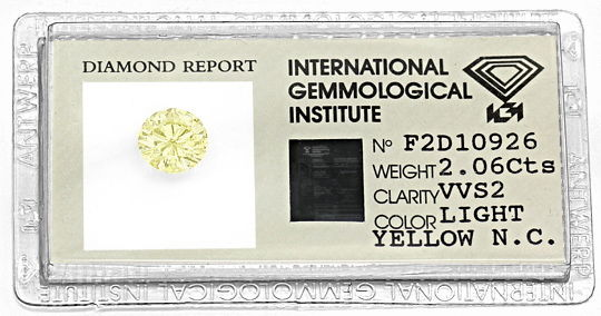 Foto 1, Riesiger Brillant 2,06ct Top Fancy Light Yellow VVS IGI, D6527
