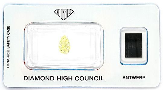 Foto 1, Diamant Tropfen 1,05 ct Sensationell Yellow Zitrone HRD, D6529