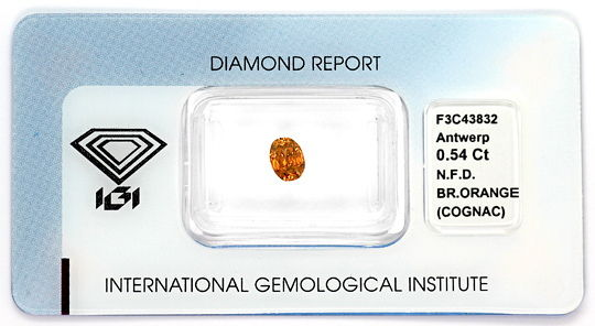 Foto 1, Ovaler Diamant 0,54 Top Deep Brownish Orange Cognac IGI, D6533