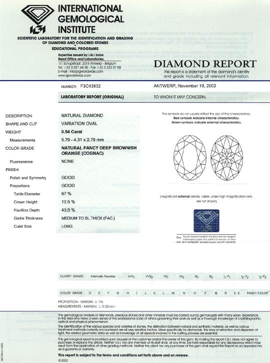 Foto 9 - Ovaler Diamant 0,54 Top Deep Brownish Orange Cognac IGI, D6533