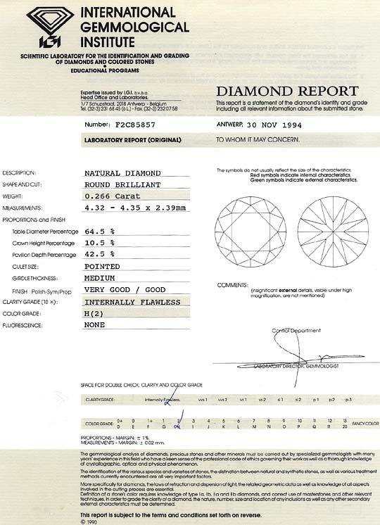 Foto 9, Diamant 0,266ct Brilliant IGI Lupenrein Wesselton Weiss, D6540