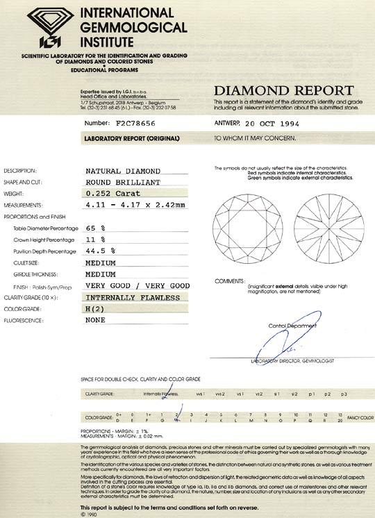 Foto 9, Diamant 0,252 ct Brillant IGI Lupenrein Wesselton Weiss, D6541