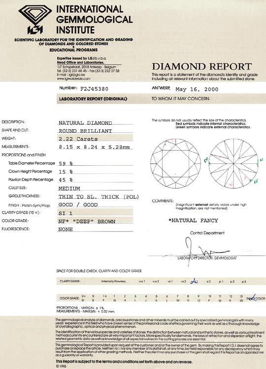 Foto 9, Brillant 2,22 Carat Fancy Deep Brown SI1 IGI Zertifikat, D6542