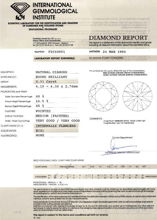 Foto 9, Diamant 0,31ct Brilliant River Lupenrein IGI Zertifikat, D6545