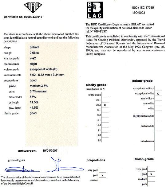 Foto 9, Diamant 0,66ct Brilliant HRD VVS River Hochfeines Weiss, D6553