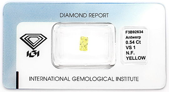 Foto 1, Diamant 0,54ct Princess Yellow Sensationell Zitrone IGI, D6560