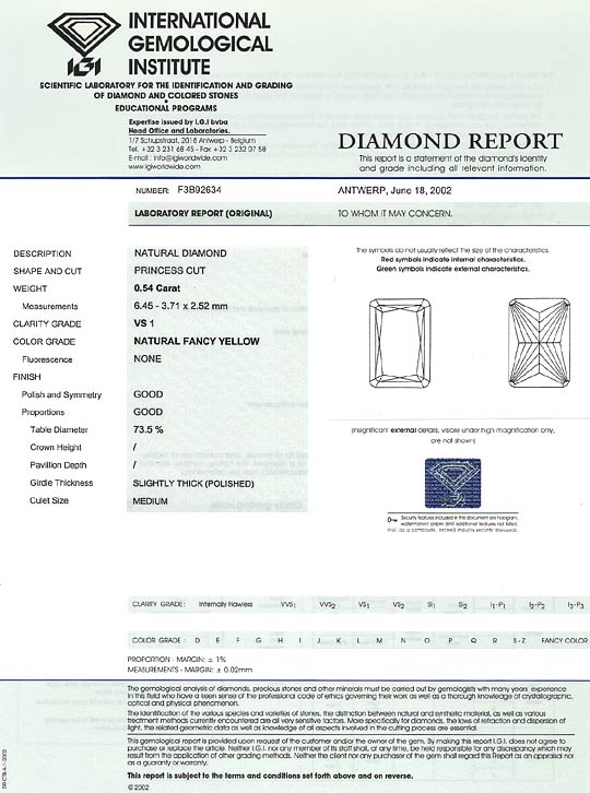 Foto 9, Diamant 0,54ct Princess Yellow Sensationell Zitrone IGI, D6560