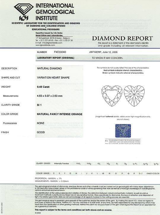 Foto 9, Diamant Herz 0,45 Carat Sensationell Intense Orange IGI, D6561