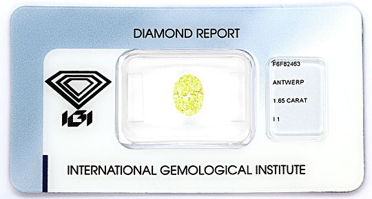 Foto 1, Diamant 1,65ct Fancy Intense Lime Yellow Green Oval IGI, D6562