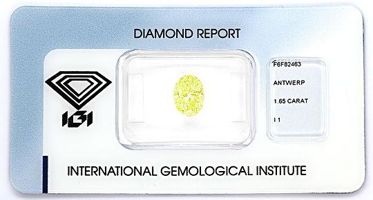 Foto 1, Diamant 1,65ct Fancy Intense Lime Yellow Green Oval IGI, D6562
