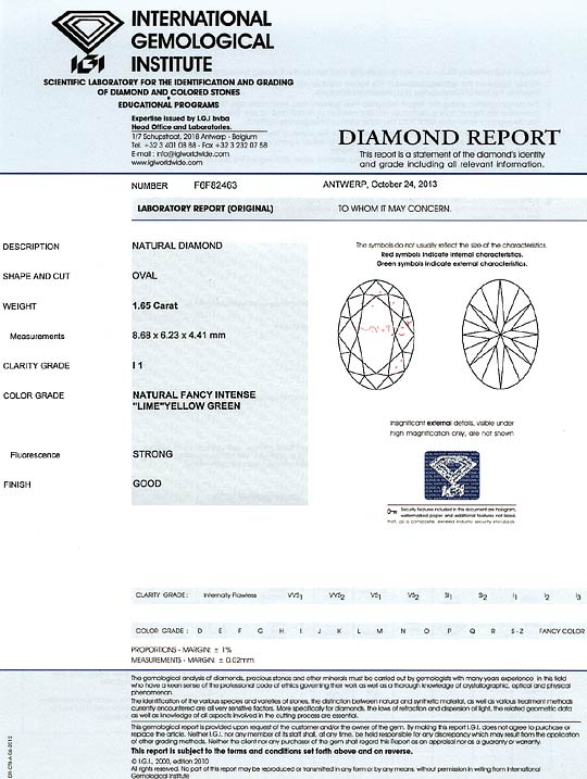 Foto 9, Diamant 1,65ct Fancy Intense Lime Yellow Green Oval IGI, D6562