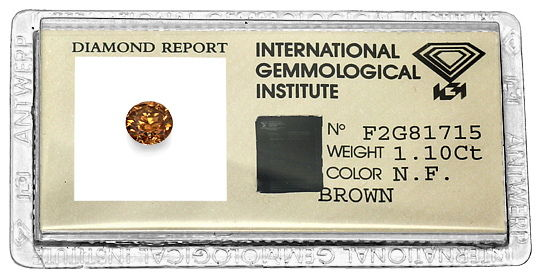 Foto 1, 1,10ct Brilliant Fancy Brown, Kräftige Bronze-Farbe IGI, D6564