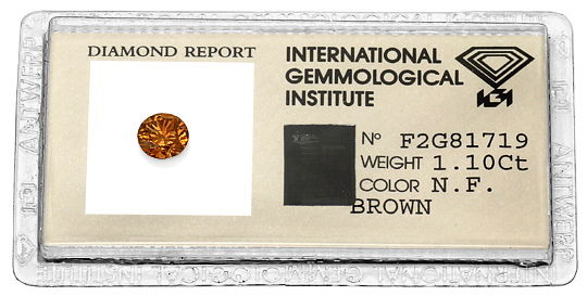 Foto 1, 1,10 ct Brilliant Fancy Brown, Orange Rot Farbstich IGI, D6565