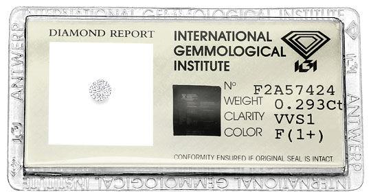 Foto 1, Brillant 0,293 Carat IGI Expertise Top Wesselton F VVS1, D6571