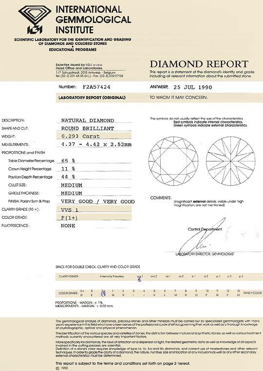 Foto 9, Brillant 0,293 Carat IGI Expertise Top Wesselton F VVS1, D6571