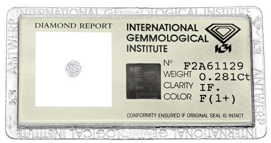 Foto 1, Brilliant 0,281 IGI Expertise Lupenrein Top Wesselton F, D6572