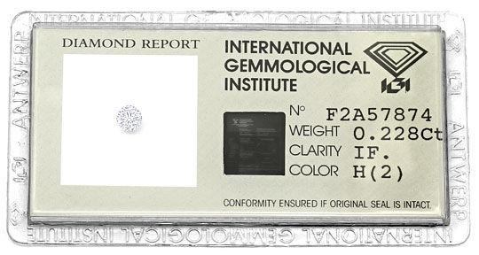 Foto 1, Brillant 0,228 IGI Zertifikat Lupenrein Wesselton Weiss, D6575