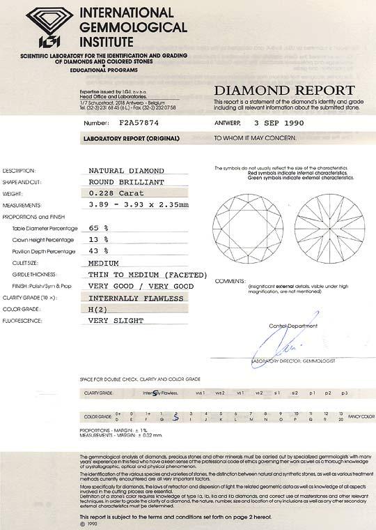 Foto 9, Brillant 0,228 IGI Zertifikat Lupenrein Wesselton Weiss, D6575