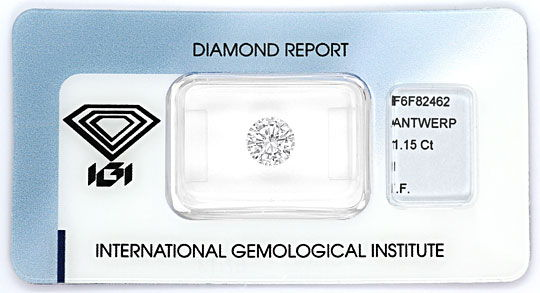 Foto 1, 1,15ct Brillant mit IGI Gutachten Lupenrein Top Crystal, D6578