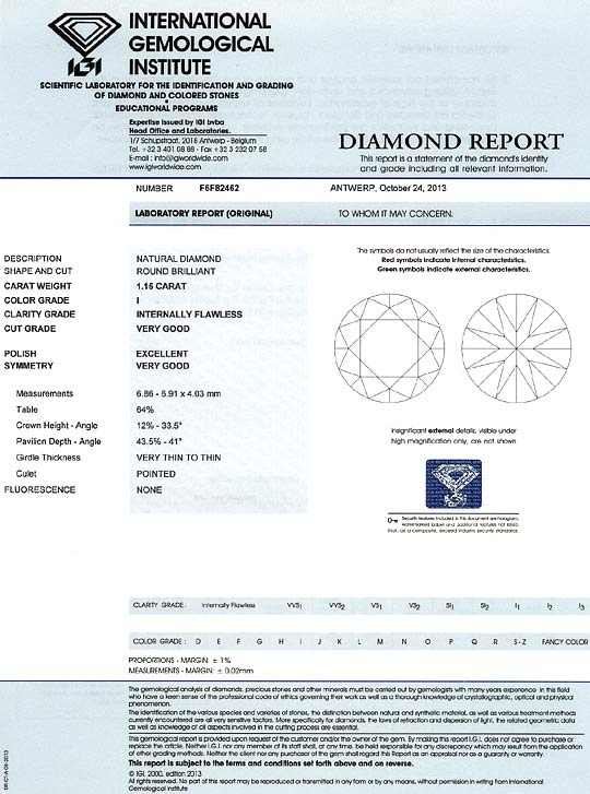 Foto 9, 1,15ct Brillant mit IGI Gutachten Lupenrein Top Crystal, D6578