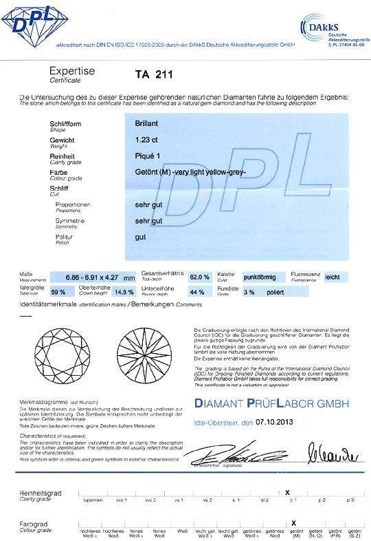 Foto 9, Grosser Brilliant 1,23 Carat mit DPL Expterise, Cape P1, D6583