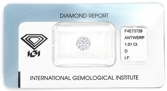 Foto 1, Diamant 1,01ct Brillant Lupenrein River D IGI Gutachten, D6587