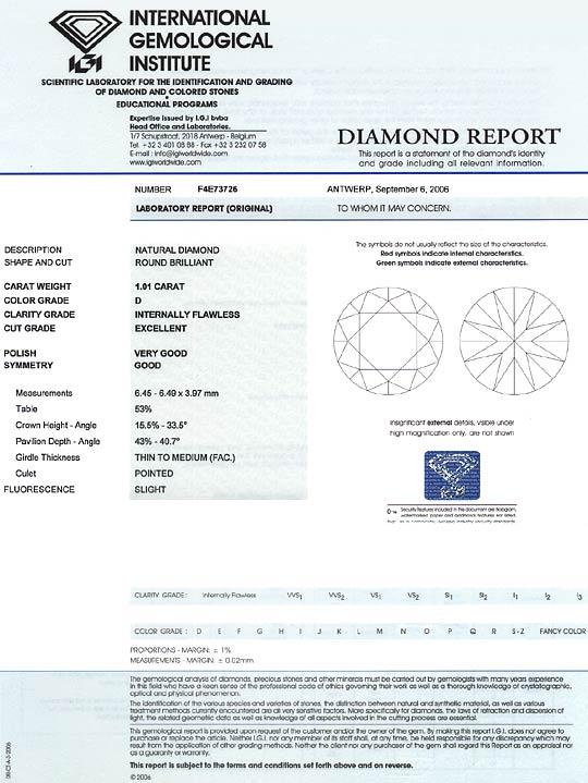 Foto 9, Diamant 1,01ct Brillant Lupenrein River D IGI Gutachten, D6587