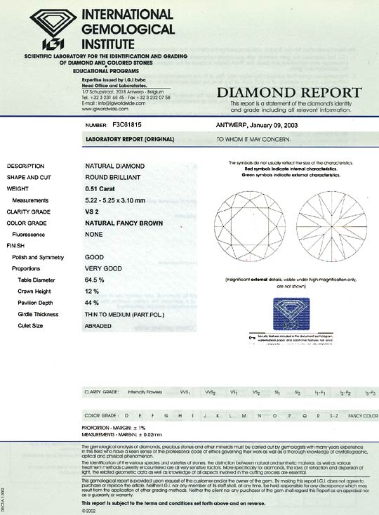 Foto 9, Brillant 0,51 ct Natural Fancy Brown VS2 IGI Zertifikat, D6593