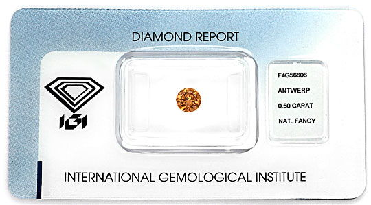 Foto 1, Brillant 0,50ct Natural Fancy Dark Orange Brown SI2 IGI, D6594