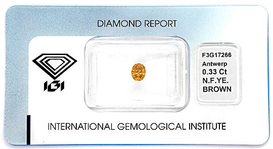 Foto 1, Ovaler Diamant 0,33 Carat Fancy Yellowish Brown SI2 IGI, D6596