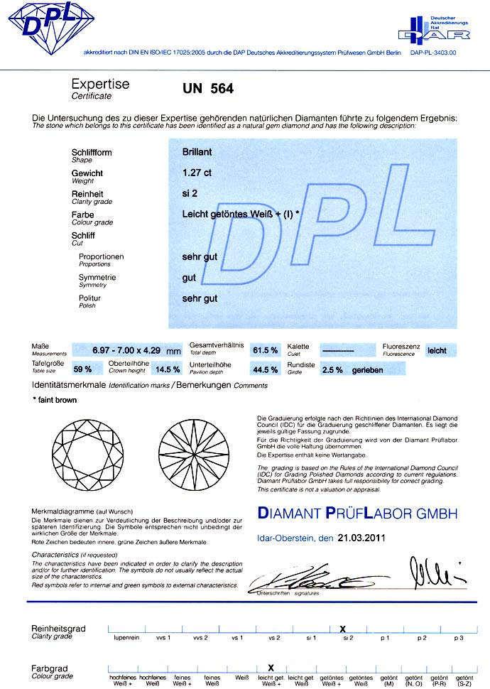 Foto 9, Diamant 1,27ct Brilliant DPL Zertifikat, fast Weiss SI2, D6599