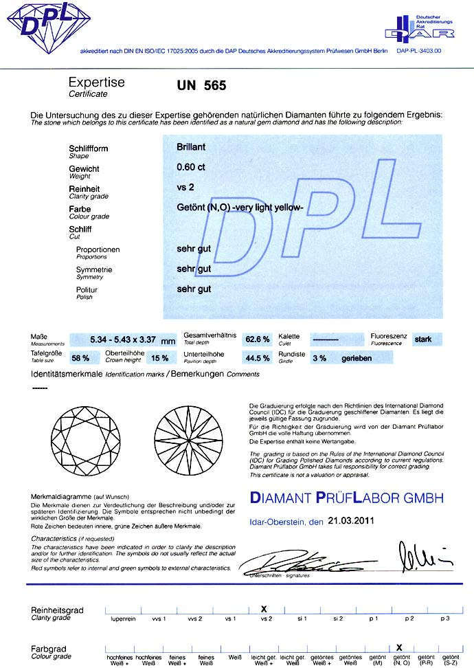 Foto 9, Diamant 0,60ct Brillant, Zertifikat DPL, fast Weiss VS2, D6600