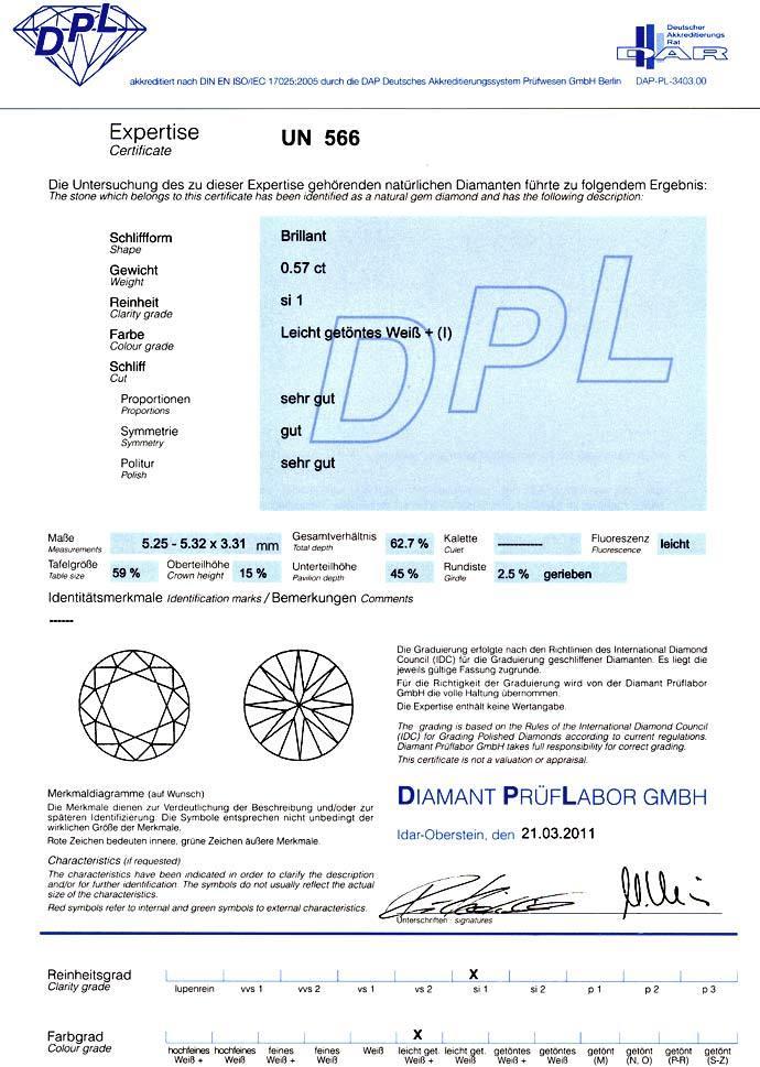 Foto 9, Diamant 0,57ct Brilliant, DPL Zertifikat fast Weiss SI1, D6601