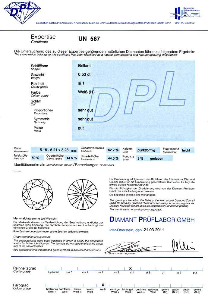 Foto 9, Brillant 0,53ct mit Zertifikat von DPL in Wesselton SI1, D6602