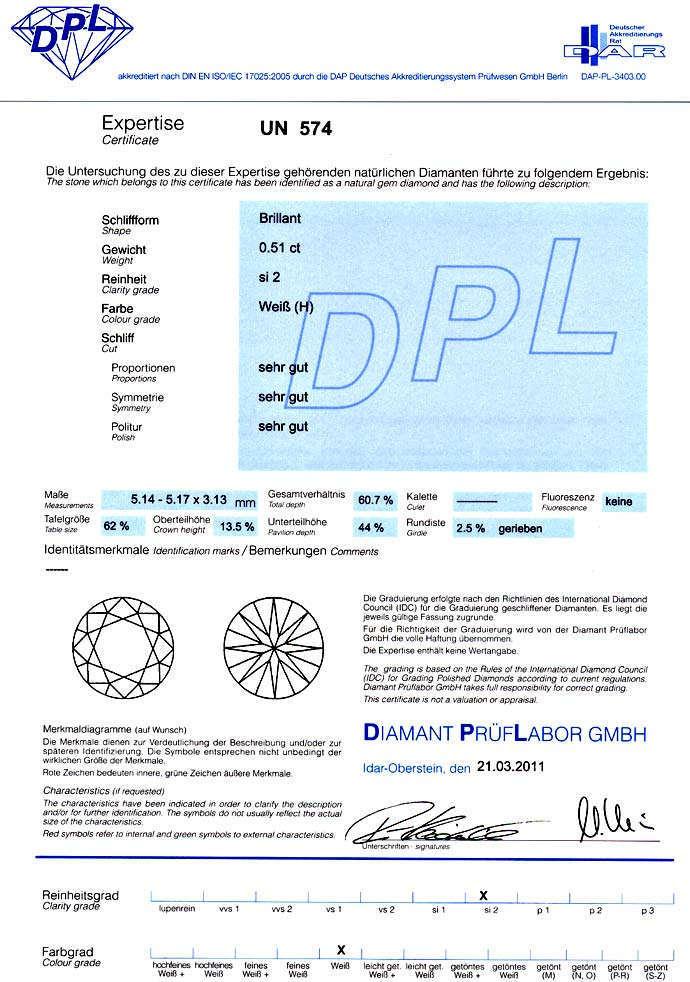Foto 9, Diamant 0,51ct Brillant in Wesselton SI2 DPL Zertifikat, D6603