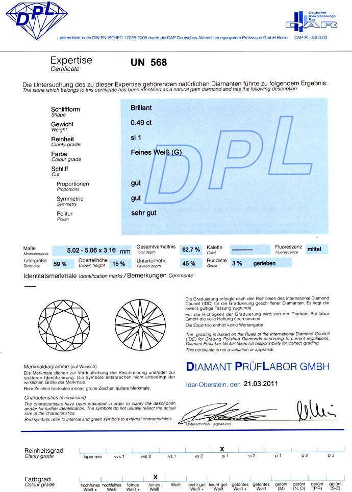 Foto 9, Diamant 0,49ct Brillant Top Wesselton SI1 DPL Gutachten, D6604