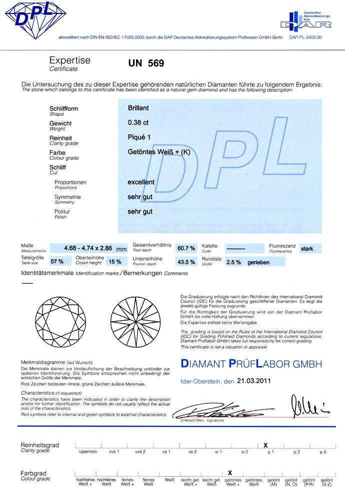 Foto 9, Brillant 0,38Carat mit DPL Zertifikat und fast Weiss P1, D6605