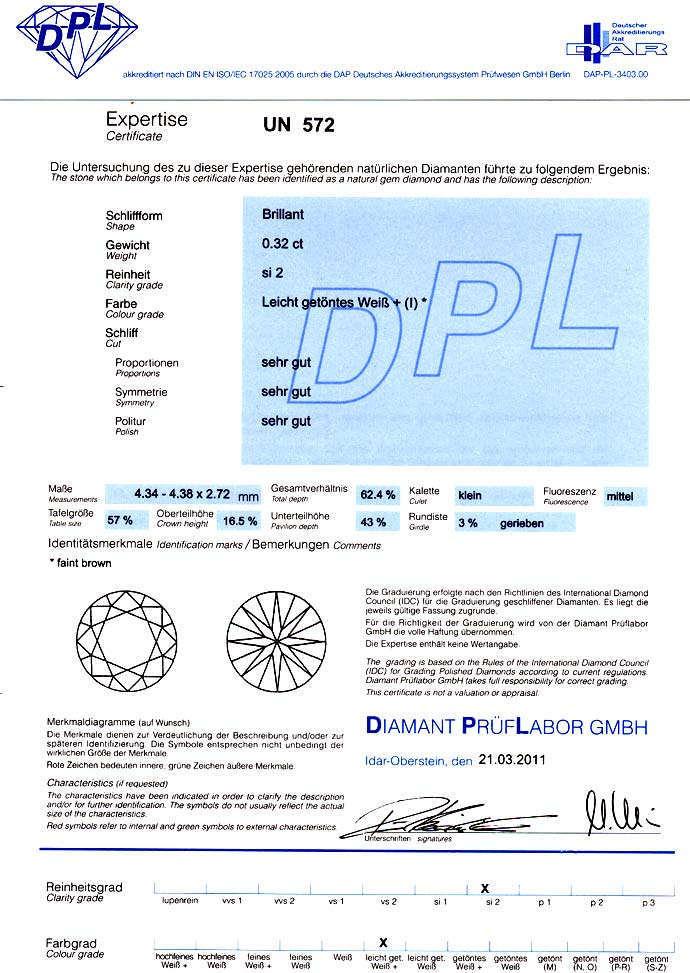Foto 9, Brillant 0,32 ct Zertifikat von DPL fast Ganz Weiss SI2, D6606